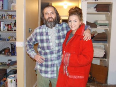 Todd Fontaine and daughter, Carmella Fontaine, wearing the Hudsons Bay Blanket coat